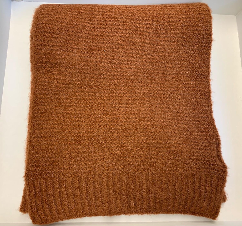 Striped knit scarf rust