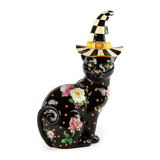 Black flower market cat