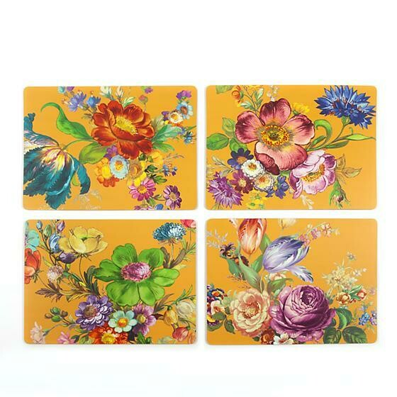 Flower market ochre cork back placemats set of 4