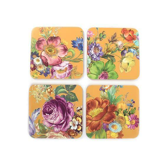 Flower market ochre cork back coasters set of 4