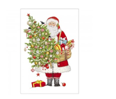 Santa ornament tree bagged towel