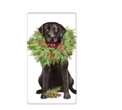 Black lab with wreath bagged towel