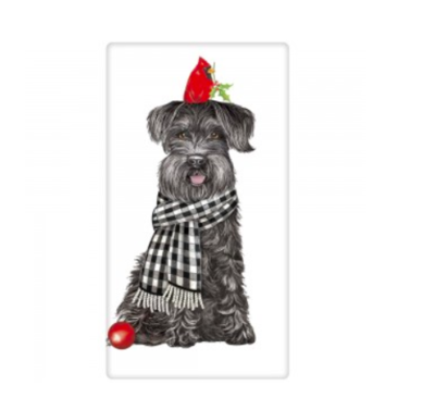 Schnauzer with cardinal bagged towel