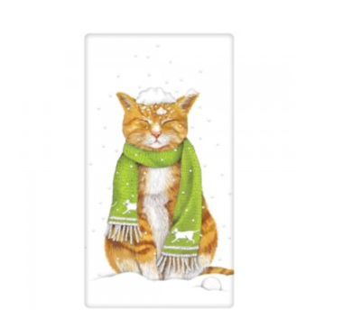 Cat snow bagged towel