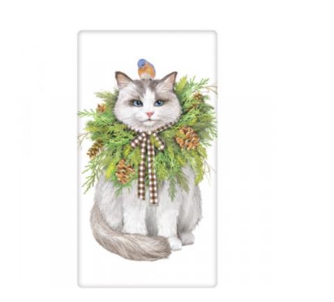Cat wreath bagged towel