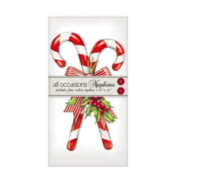 Candy canes with holly napkins