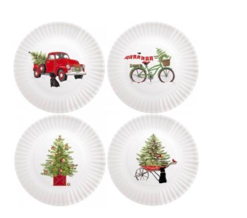 Holiday truck melamine plates set of 4