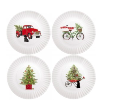 Holiday truck melamine plates set of 4
