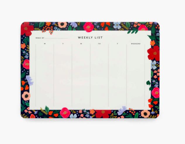 Wild rose weekly desk pad