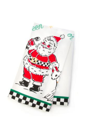 Santas calling dish towel