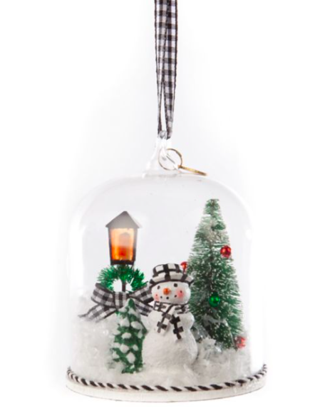 Happy holidays snowman cloche orn