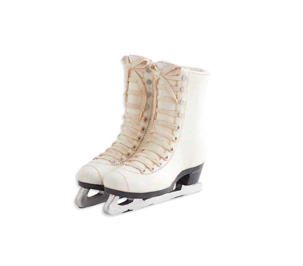 White resin ice skates 12 inch