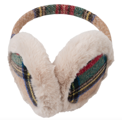 Camel plaid ear muffs