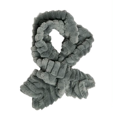 Faux fur key hole scarf gray