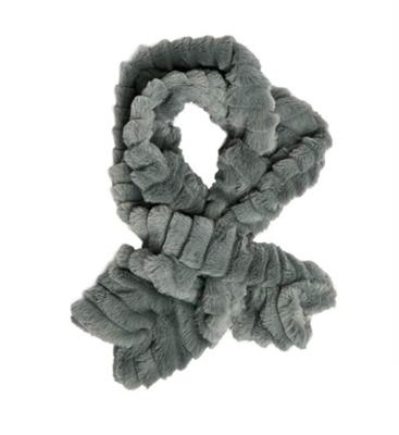 Faux fur key hole scarf gray
