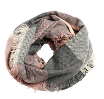 Plaid infinity scarf pink