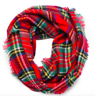 Plaid infinity scarf red