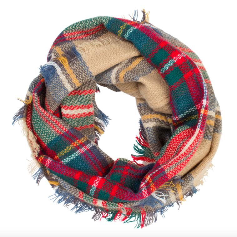 Plaid infinity scarf camel
