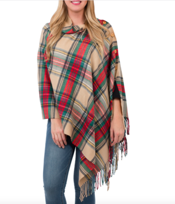 Plaid 3 in 1 wrap camel