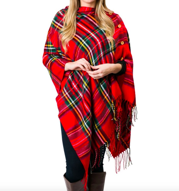 Plaid 3 in 1 wrap red