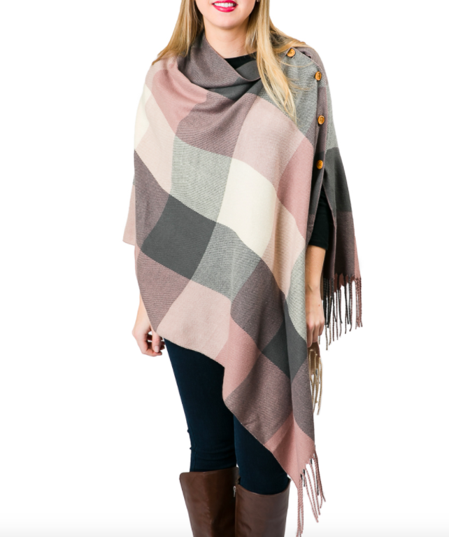 Plaid 3 in 1 wrap pink