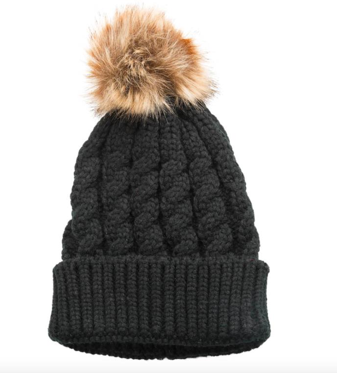 Emma pom pom hat black