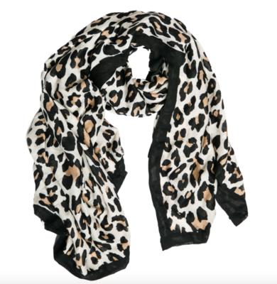 Swana scarf cream leopard