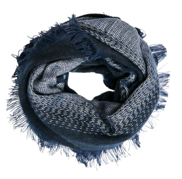 Plaid infinity scarf navy ombre