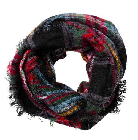 Plaid infinity scarf black
