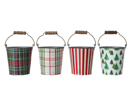 Round metal bucket with handle 4 inch green plaid