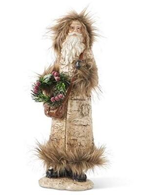 Resin santa with fur 18 inch