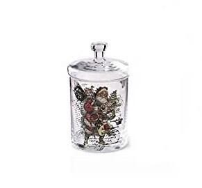 Vintage santa clear lidded jar small