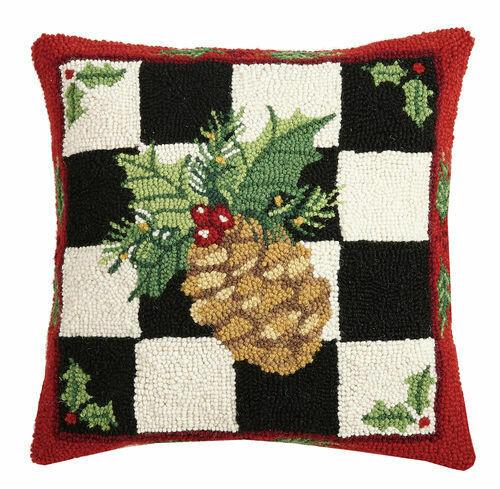 Pinecone check pillow