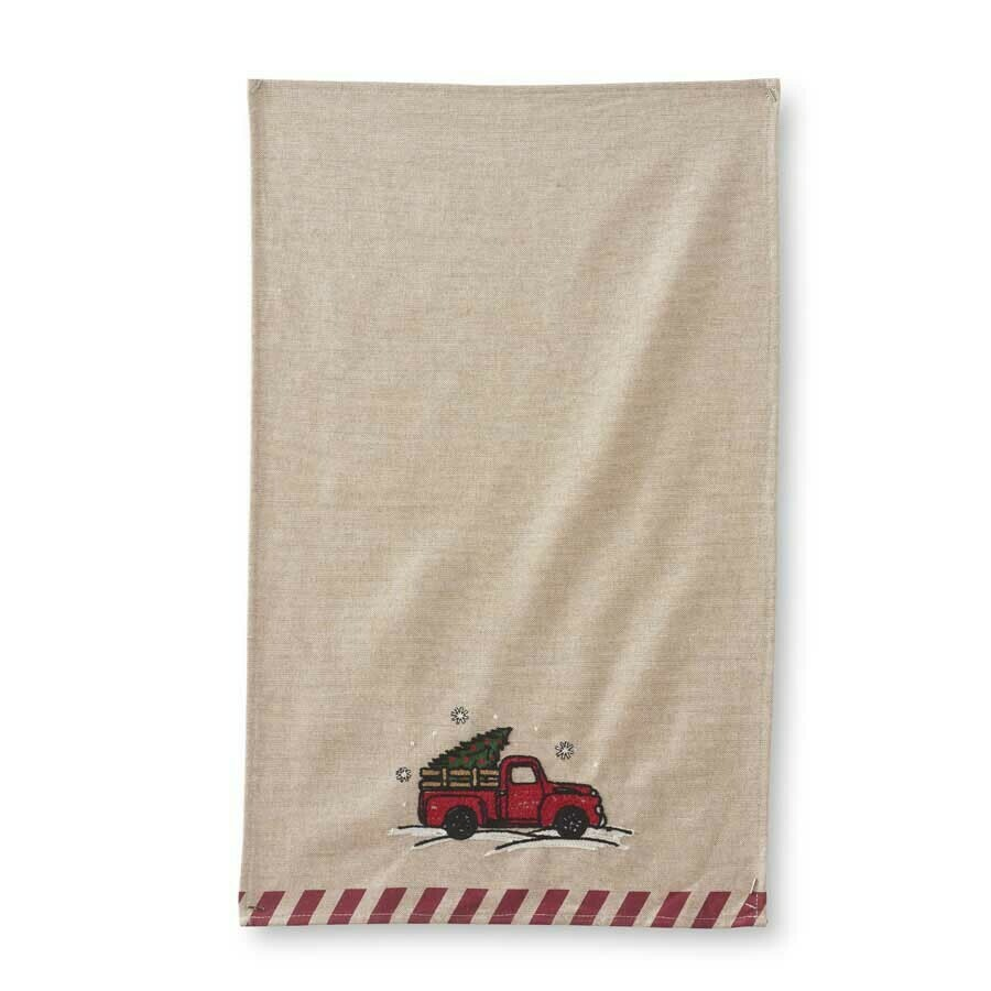 Red truck towel with red stripes