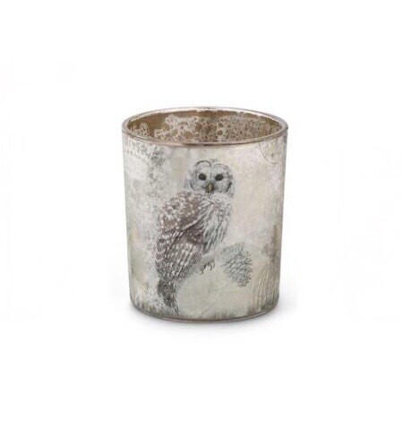 Snowy owl glass votive medium