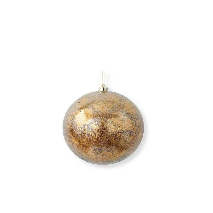Glittered bronze gold leaf orn 6 inch