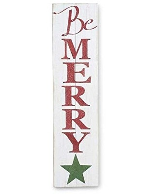 Be merry white wood wall sign 47 inch