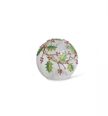 Glass globe holly berry 4.5 inch