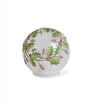 Glass globe holly berry 7 inch