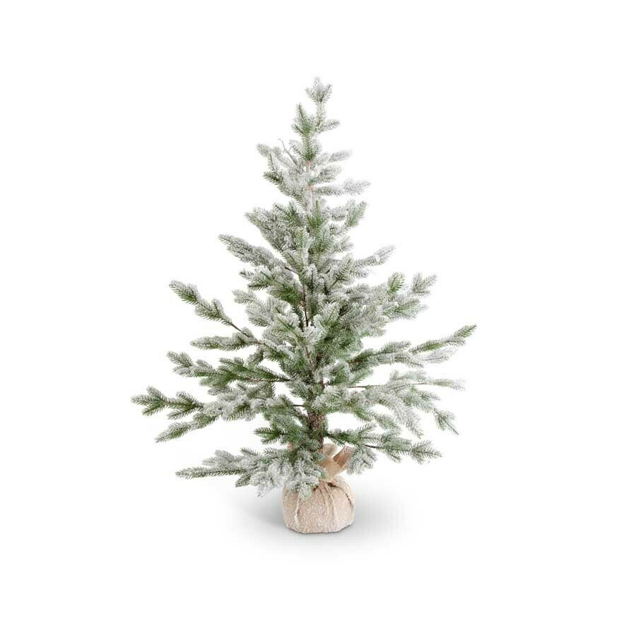 Frosted real touch fir pine tree in burlap 36 inch