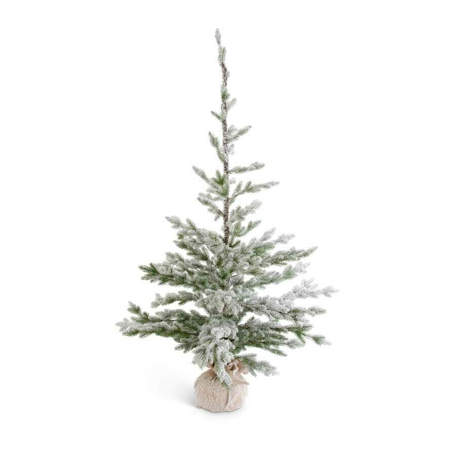Frosted real touch fir pine tree in burlap 60 inch