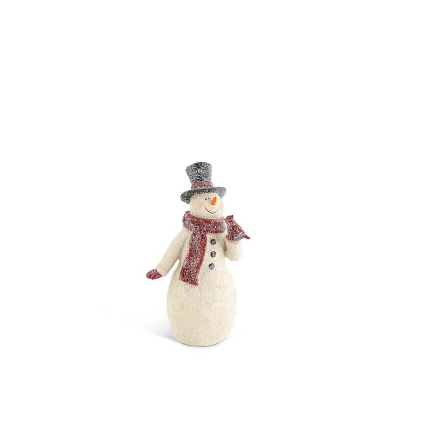 Glittered resin snowman with cardinal