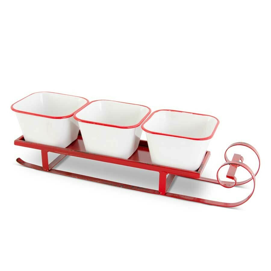 Red and white enameled serving sleigh