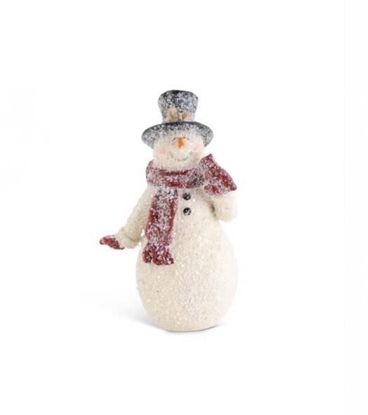 Glittered resin snowman with bird orn
