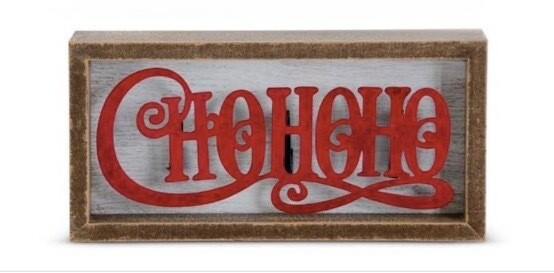 Framed white wood sign raised hohoho