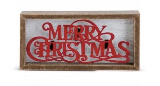 Framed white wood sign raised merry christmas
