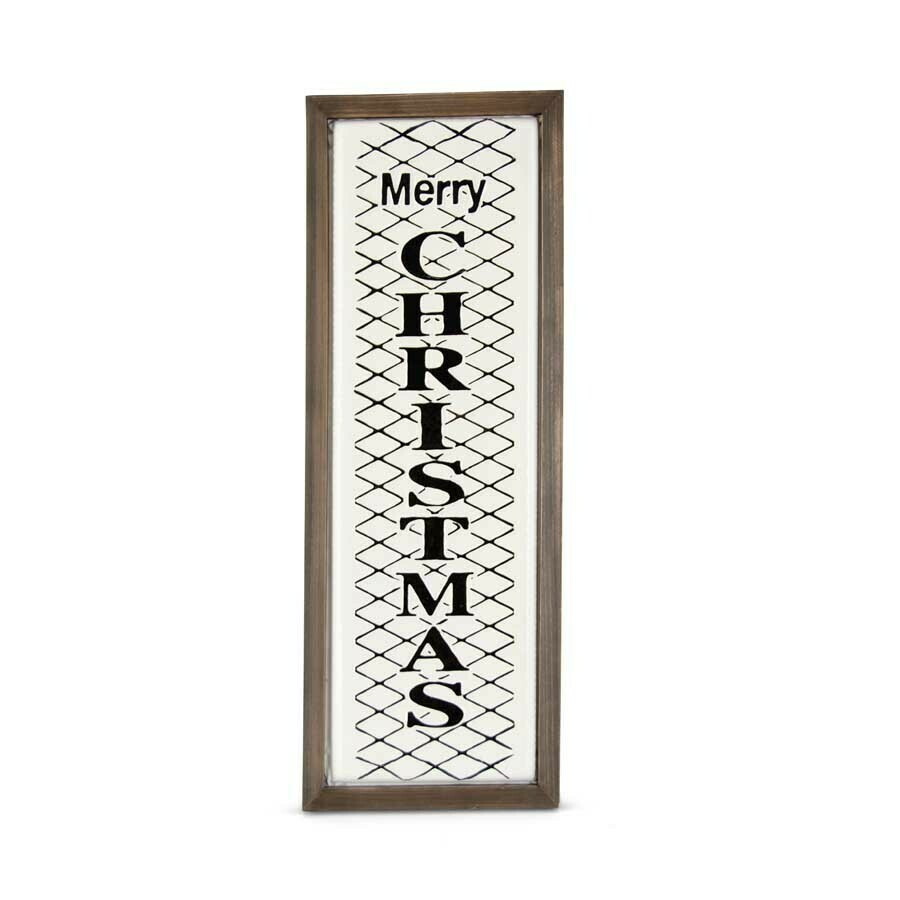 White and black enameled merry christmas wall sign 30 inch