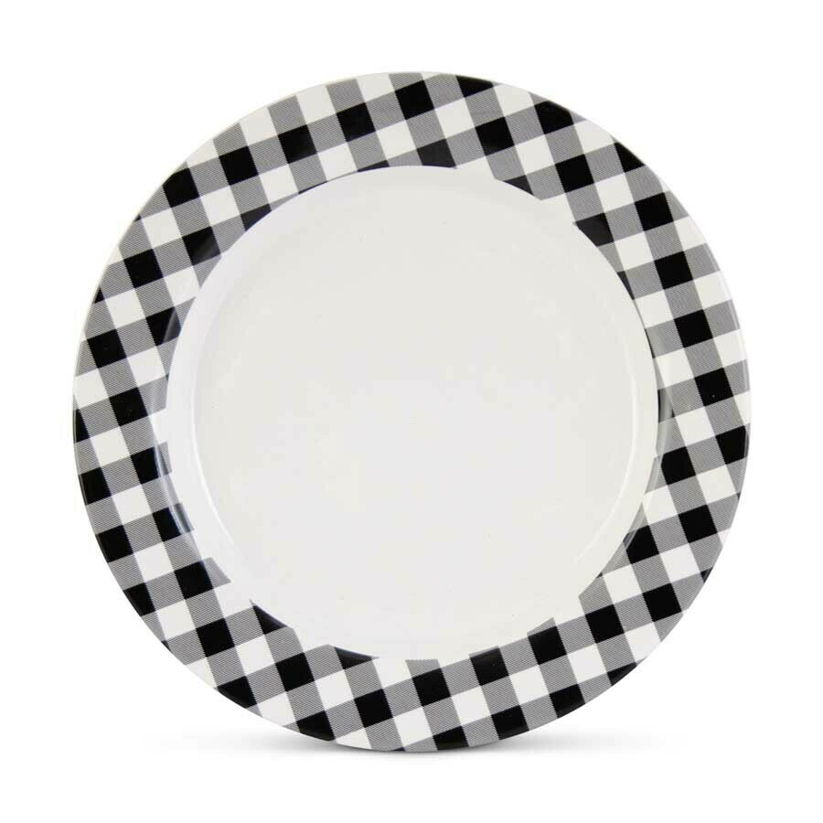 Black and white ceramic plate 10 inch