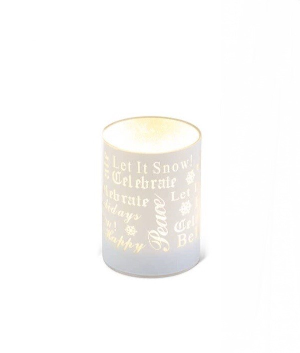 LED glass candle matte white small