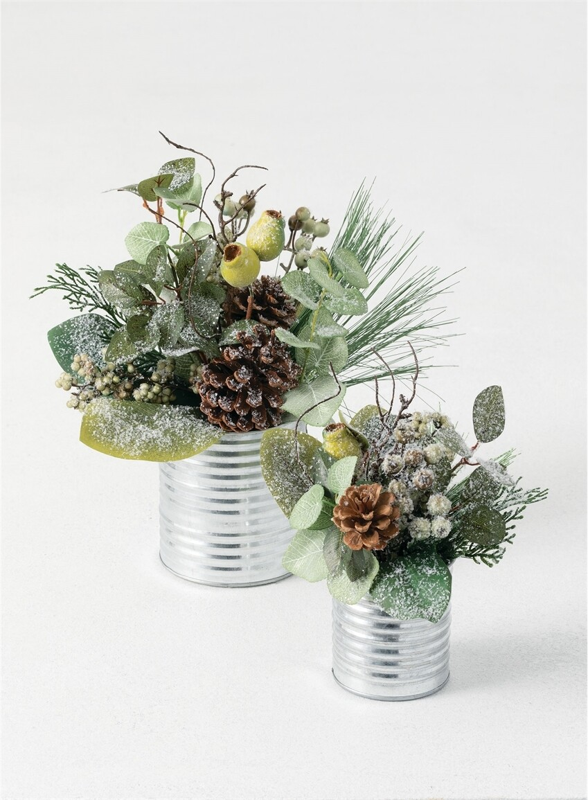 Green berry arrangement in tin can large